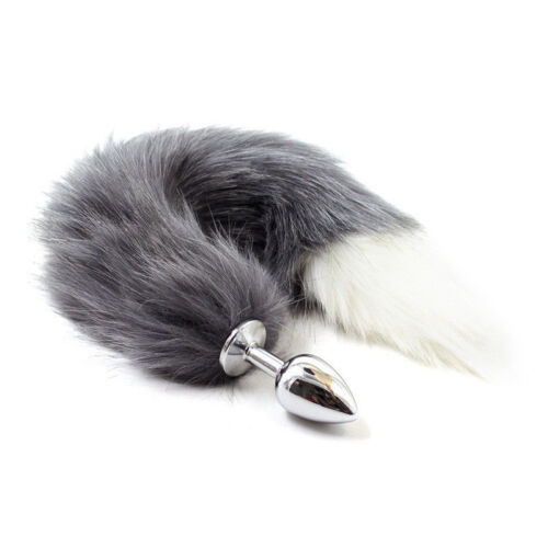 Role play False Fox Tail With Stainless Steel Plug Romance Game Toy Tail Stopper