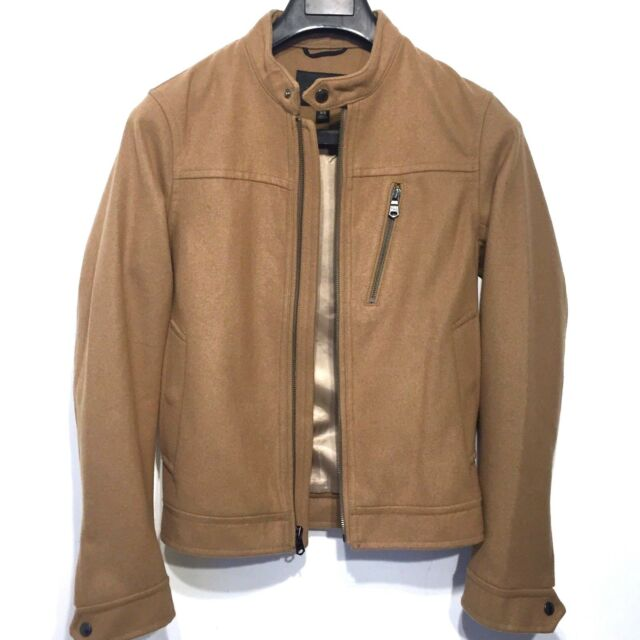 BANANA REPUBLIC Mens Camel Tan Wool Blend Lined Bomber Jacket Coat XS -MSRP $268