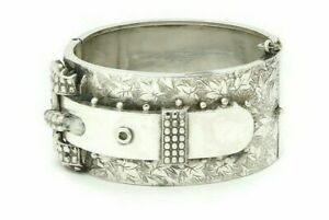 Antique-Victorian-Sterling-Silver-Buckle-Bangle-Bracelet-Hinged-Ivy-Design-1863
