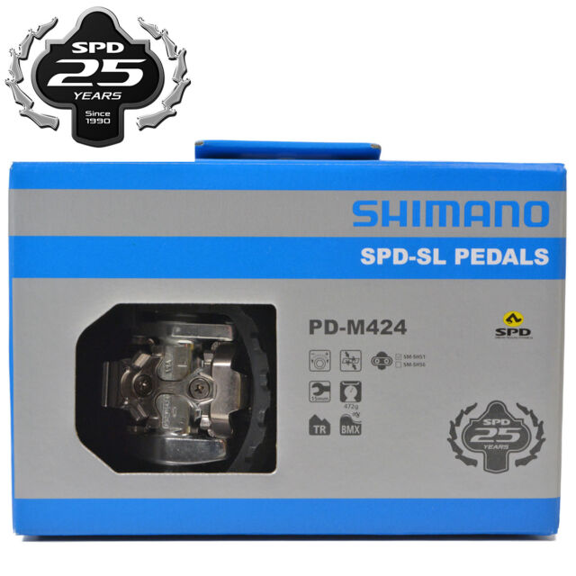 2017 Shimano PD-M424 Trail Mountain Bike BMX Dual Sided SPD Pedals & Cleats