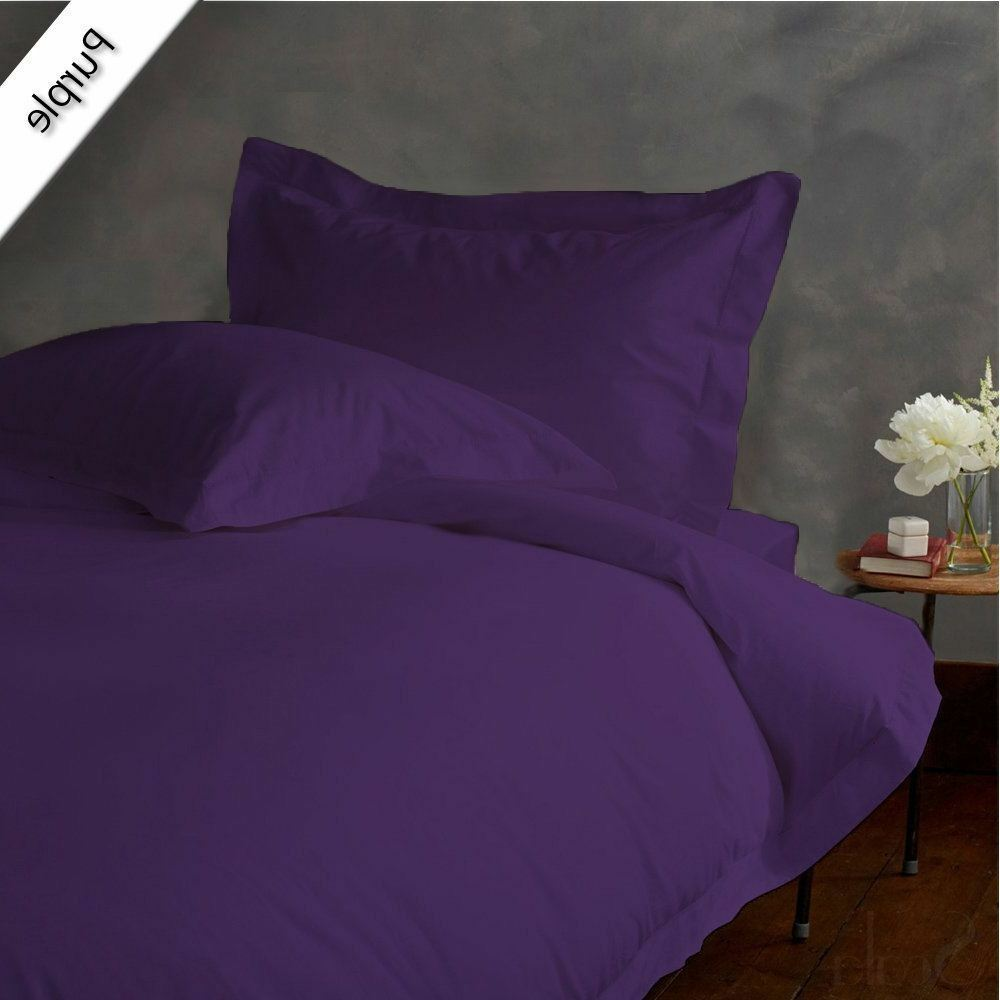 Duvet Set + Fitted Sheet King Größe lila Solid 1000 TC Egyptian Cotton
