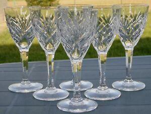 Saint-Louis-Service-de-6-verres-a-vin-blanc-en-cristal-taille-modele-Chantilly