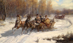 Huge-oil-painting-Russians-on-horse-drawn-sleigh-in-winter-snow-landscape-canvas