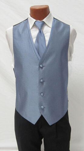 Mens Periwnkle Light Blue Diamond Tuxedo Fullback Vest /& Tie Wedding Large Long