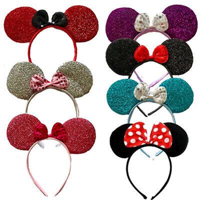Paillettes Glitter Minnie Mouse Orecchie Cerchietto Con Fiocco Costume Hen Night Party