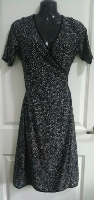 LEONA EDMISTON Black Printed Wrap Dress, Size 1/10 White Pink Spotted Casual Fem