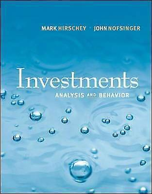 Investments : Analysis and Behavior with S&P bind-in Card by Hirschey, Mark