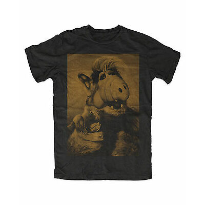 Alf Kult T-Shirt Schwarz Melmac,Lecker Katze, Ufo Comedy Kult Serie,Alf,Kitty