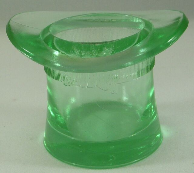 Apple Green Depression Pressed Glass Top Hat Toothpick Holder
