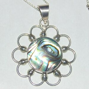 Vintage-sterling-silver-abalone-daisy-flower-power-pendant-15-034-chain-necklace
