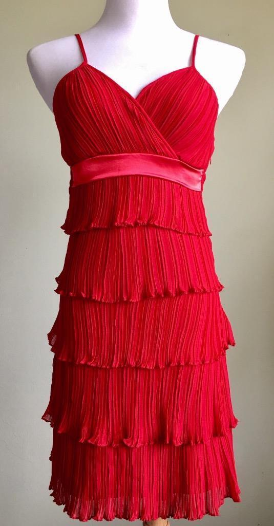 Neslay Red Ruffled Halter Dress Size S 4 6 Tiered Adjustable Straps Flapper