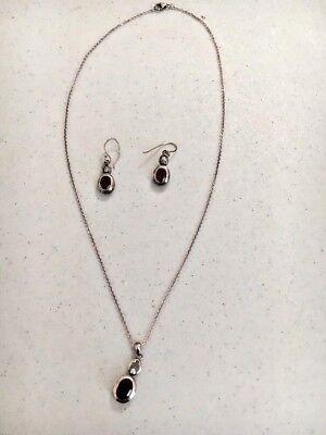 Details about  /LUCAS LAMETH LUC Sterling Silver  Red Garnet Drop Dangle Hook Earrings