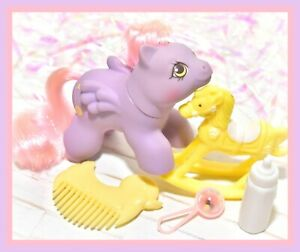 My-Little-Pony-MLP-G1-Vtg-Newborn-Baby-Ponies-YO-YO-Bottle-Comb-Pink-Hair