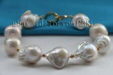 "8.5"" Genuine Natural 19mm White Baroque Reborn Keshi Pearl Bracelet 14k #f2426!"