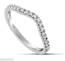 Lab Diamond Wedding Ring Band 0.39 Carat CURVED 14K White Gold Classic Guard