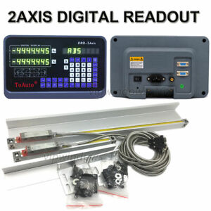 Digital-Readout-2Axis-DRO-Display-2pc-TTL-Linear-Scale-CNC-Bridgeport-Milling