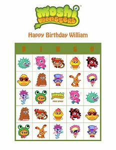 Image Is Loading Moshi Monsters Personalized Birthday Party Game Activity Bingo