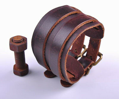 Cool Double Layer Vintage Wide Men's Leather Bracelet Wristband Cuff Brown s465