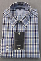 TOMMY HILFIGER Men BLUE WHITE PLAID CHECKER REG FIT DRESS SHIRT NWT 15 32-33 $65