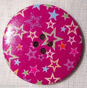 BOUTON BOIS VERNIS étoile rouge ** 40 mm 4 cm ** Lot au choix X1 X2 X3 40//015