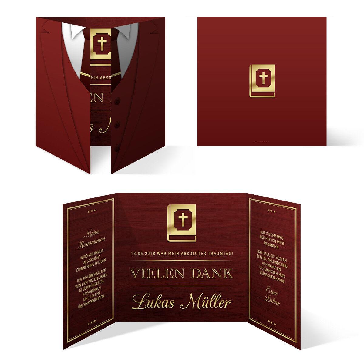 Kommunion Dankeskarten Danksagungskarte Danksagung Set Jungen - Altarfalz Anzug | Ausgezeichnete Qualität  | Kompletter Spezifikationsbereich