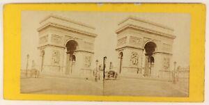 Parigi-L-Arco-Da-Triomphe-Da-L-Stella-Foto-Stereo-PL55L5n-Vintage-Albumina-c1880