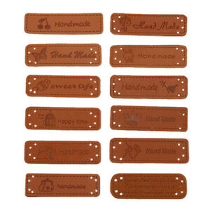 12PCS/Set Hand Made Labels PU Leather Tags Clothes DIY Jeans Bags Sewing Knit UK