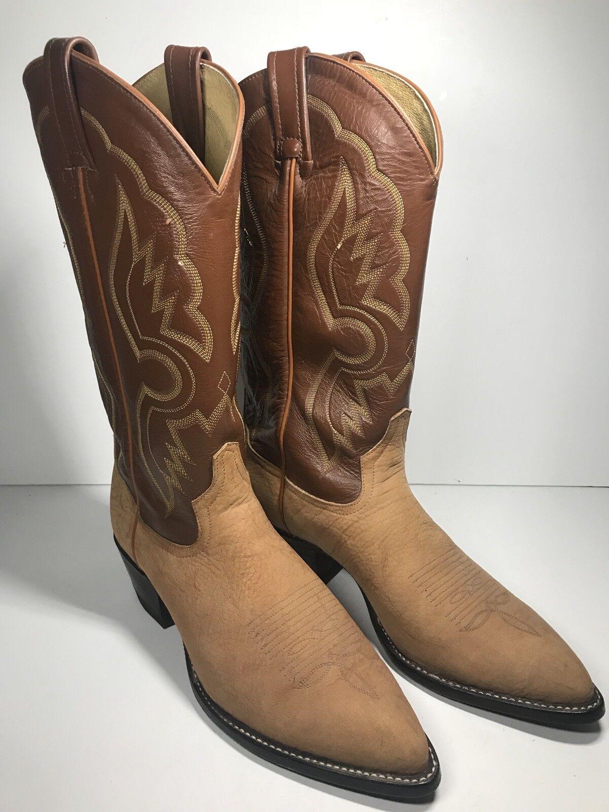 Vintage 1980s TONY LAMA Cowboy Stiefel Stiefel Stiefel Men 9 braun GOAT Leather Western Ranch 6261 2ea4ab