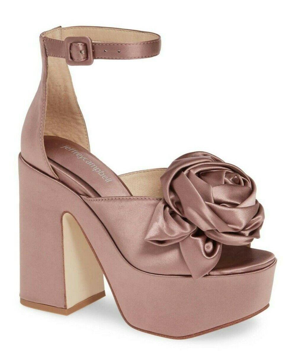 Jeffrey Campbell Candice-R Ankle Strap Satin Platform Wedge Heel Sandals Größe 8