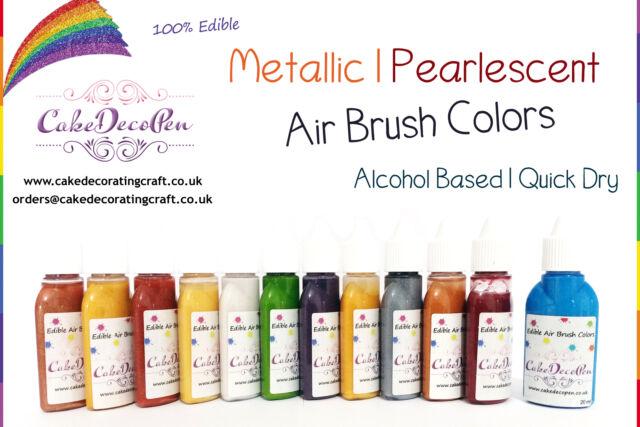 Metallic Edible Colors | Air Brush Cake Decorating| 20 ML| Pearl White | Ethanol