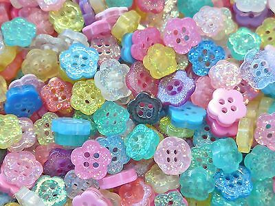 Lot of 100 Glitter Flower Buttons Mixed Colors Sewing Craft B190