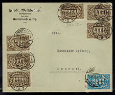 1923 Andernach Germany Inflation cover to Neuwieder Zeitung 20000 RM