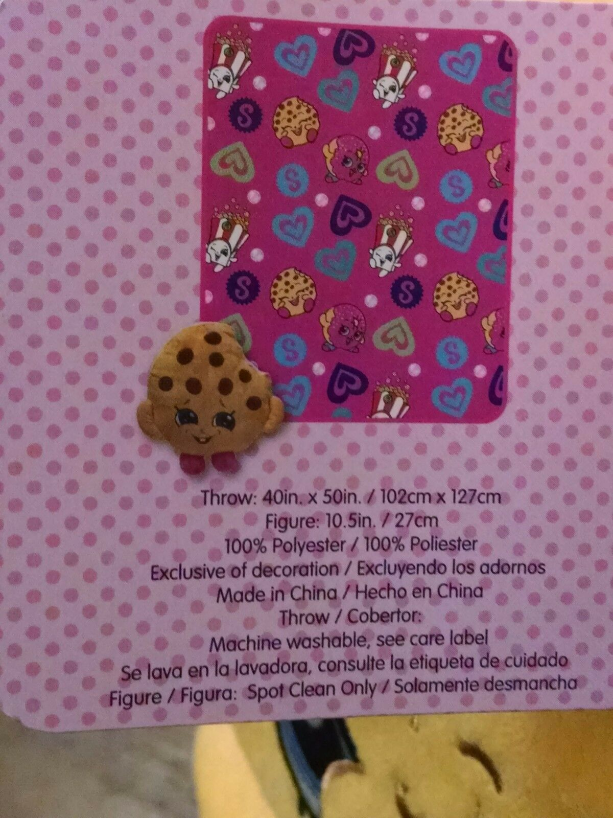"""NEW 2016 Shopkins Chocolate Chip Kooky Cookie 8/"""" Pillow /&Throw Blanket 5yrs"""