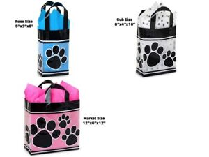 Paw-Print-3-Mil-Frosted-Plastic-Gift-Bag-Only-Choose-Size-amp-Package-Amount