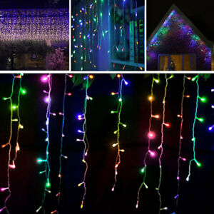 RGB-Icicle-Hanging-Snowing-LED-Fairy-Curtain-Lights-Christmas-Wedding-Party-NEW