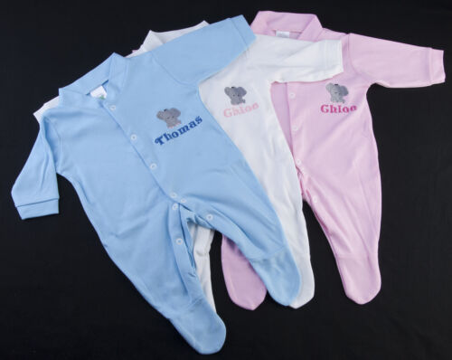 personalised baby sleepsuit any name inc cute elephant new baby boy girl gift