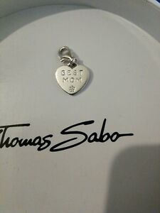25b7ecfc852b1 Details about Thomas Sabo Sterling Silver Best Mom Love Heart Charm &  Silver Organza Gift Bag