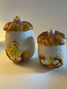 Vintage-Sears-And-Roebuck-Chicken-amp-Eggs-Canisters-Made-In-Japan-1976