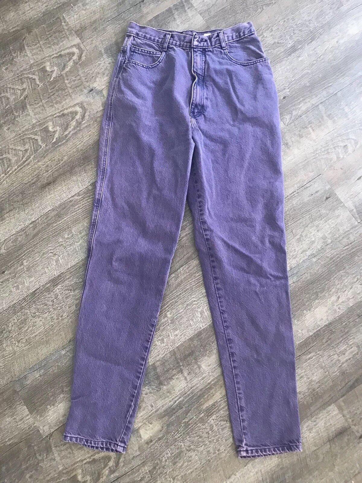 Vintage 80s Oscar De La Renta High Waisted Mom Jeans lila Denim Größe 12