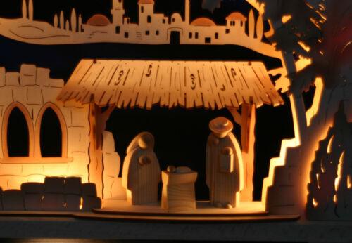 3D-Schwibbogen 52cm Christi Geburt Krippe geschnitzt Erzgebirge Lichterbogen Neu