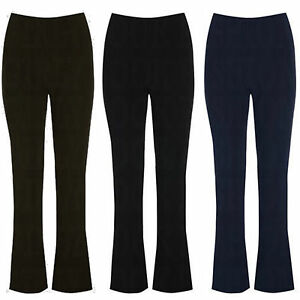 LADIES-PACK-OF-3-FINELY-RIBBED-BOOTLEG-STRETCH-BLACK-NAVY-TROUSERS-SIZES-10-26