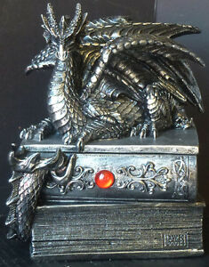 GUARDIAN of BIBLIOFILES Dragon Jewelry / Trinket BOOK Figure Statue H5''xW4''