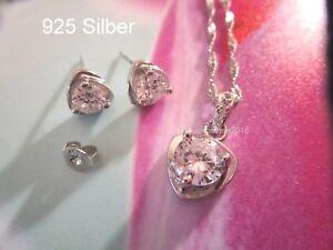925-Silber-Schmuck-Set-Zirkon-Herz-Kette-Anhaenger-Ohrstecker-Hochzeit-Liebe