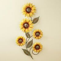 Yellow Sunflowers Floral Sculpture Metal Dimensional Wall Art Hanging Home Decor