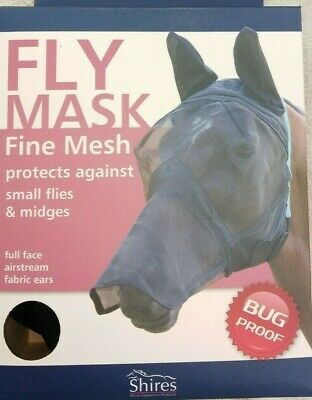 Shires Fine Mesh Full Face Fly Mask with Nose cover/&Ears 6654 Small Pony Black
