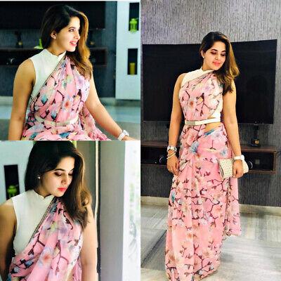 Soft Chiffon Silk Print Saree Floral Pearl Border Beautiful Pakistani BELT  Sari | eBay
