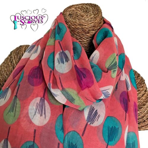 Peach Sketch Trees Scarf Teal Pink Cream Abstract Trees Wrap Superb Quality