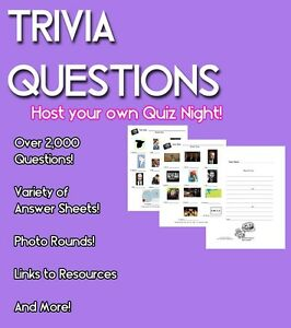 Host Trivia Night -  Over 2,000 Questions & Photos! Score Sheets & More