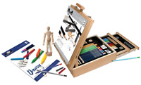 Sketching And Drawing Artist Easel 24 Piece Collection In Two Drawer Chest Art