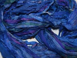 Purple Blu for tassels or embellishment 10 yards Recycled Sari Silk Ribbon Yarn